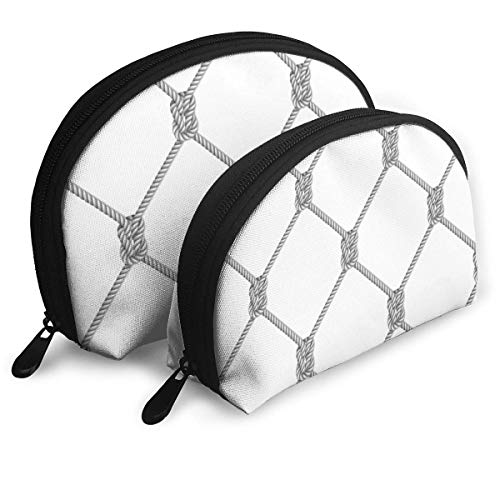 Gris Corde Tissé Net Portable Sacs d'embrayage Poche Portable Shell Maquillage Sac De Rangement avec Fermeture Éclair 2 Pcs