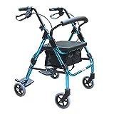 XWYZXQ Lega di alluminio 4 ruote Walker serratura freno deambulatore Walker con comodo schienale, pedali e pelle ammortizzatore impermeabile XWYSC-Z6X8Q3