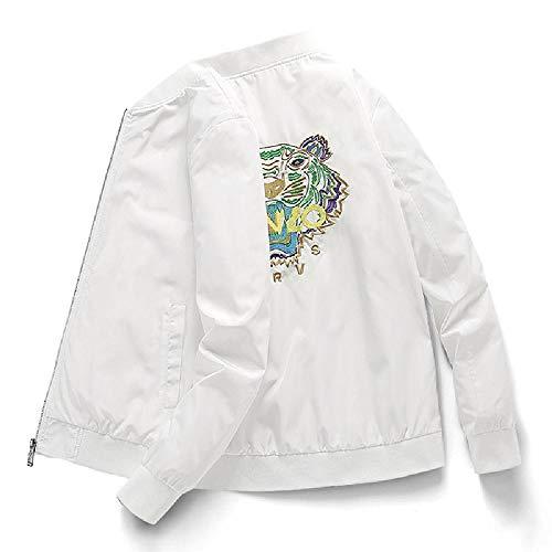 nobrand Herren Jacke Tigerkopf Bestickt dünn Bomberjacke Slim Fit Jacke Kragen Frühling und Herbst Mantel Herren Gr. XXX-Large, weiß