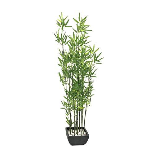 artplants - Künstlicher Bambus in Dekoschale, dunkle Kunststämme, 120 cm - Bambus im Topf/Künstliche Pflanze