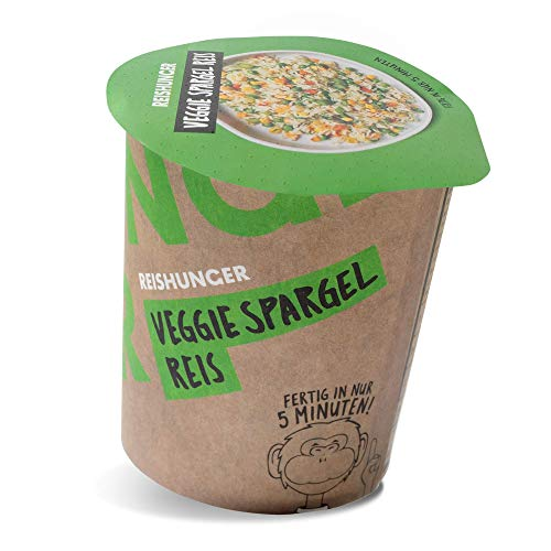 Reishunger Veggie Spargel Reis (6x80g) Leckere Mahlzeit in 5 Minuten - Fertiggericht im Becher - 100% Natürlich, ohne Zusätze, Glutenfrei, 5 Sorten, verschiedene Gebindegrößen