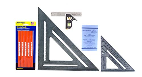 Swanson Tool Co 4-Piece Value Pack Featruing the S0101 Speed Square with Blue Book, the T0108 12 inch Speed Square w plain markings, the TC130 6 inch Combo Square and the CP700 Carpenter Pencils