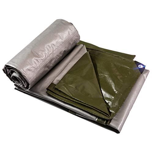 BYCDD Plane wasserdicht mit ösen, Tarpaulin Plane Ground Zelt Trailer Cover UV-beständig und warm,Green Silver_3x6m