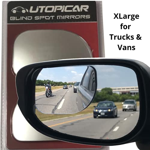 Blind Spot Mirrors XLarge for SUV, Vans, Pick up Trucks with Big Door Mirrors Only   Engineered by Utopicar car accessories (2pack)