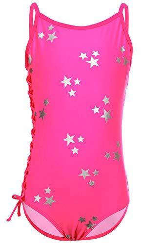 DUSISHIDAN Mädchen Bademode Badeanzüge für Kinder Einteiliger Rosa Bikini Seitengurt Heiße Silberne Sterne S