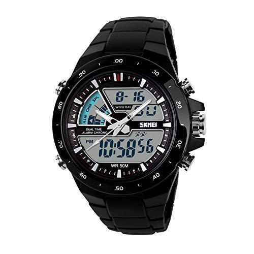 JTTM Hombre Reloj Deportivo Digital con LED Luz De Fondo Grande Cara Resistente Al Agua Militar Relojes Casuales Luminoso Cronómetro Alarma Reloj Simple Militar – Dorado,Black Face Black Belt