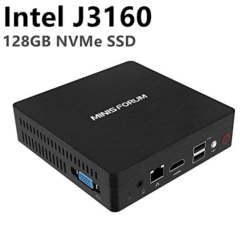 Desktop Mini PC Processore Intel Celeron J3160 quad-core ( fino a 2,24 GHz) , 4 GB DDR3 / NVME 128 GB SSD Windows 10 Pro 4K Display HDMI e VGA con sistema di raffreddamento USB 3.0 / BT 4.2