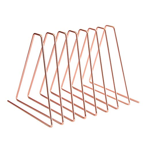 Triangle File Folder Racks,Triangle Copper Wire Book Shelf Magazine Rack,Desktop File Organizer Stand Desk Nonskid Adjustable Bookend for Office Home Decoration,Photography Props (Rose Gold)