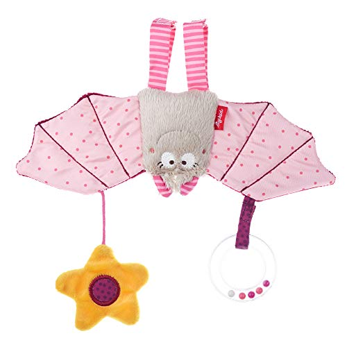 SIGIKID Mädchen, Aktiv-Anhänger Fledermaus mit Rassel, Babyspielzeug, empfohlen ab 0 Monaten, rosa, 42208
