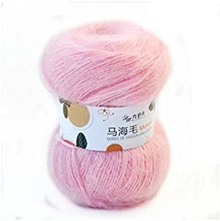 Celine lin One Skein Soft Natural Angola Mohair Wool Knitting Yarn 50g,Pink