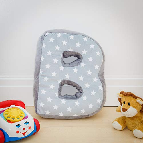 Alphabet Cushion B - Letter Pillow B - Grey Initial Gift Nursery Bedroom
