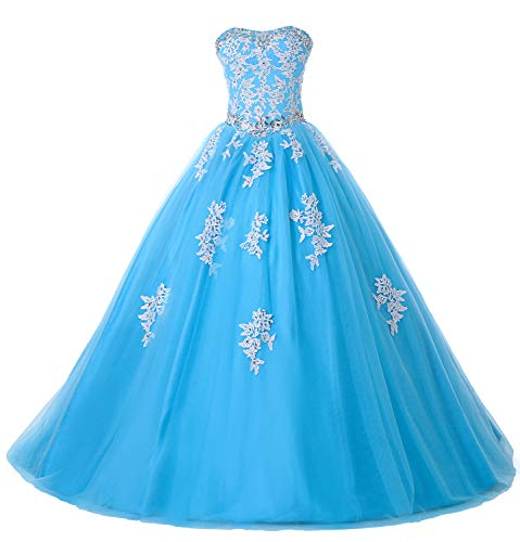 Eldecey Women's Quinceanera Dress Sweet 16 Birthday Lace Applique Floor Length Tulle Ball Gown Prom Formal Gown Long Dresses Aqua US6 (Apparel)