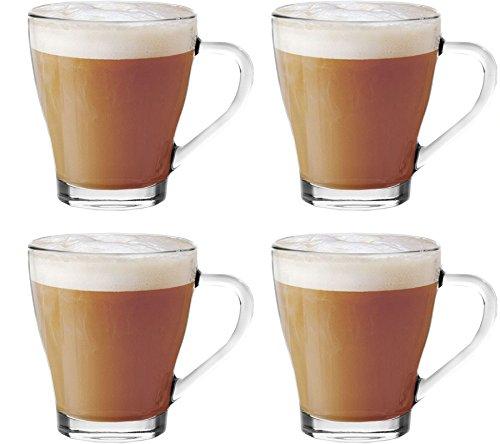 Get Goods - Set di 4 Tazze in Vetro per Cappuccino, tè, caffè, caffellatte, Cioccolata Calda