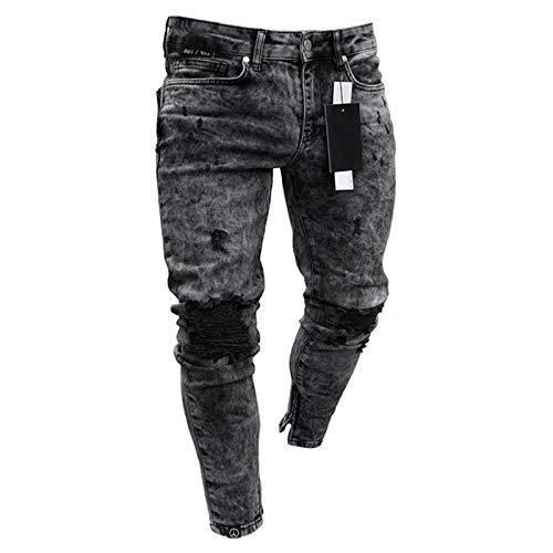 Herren Scratched Stretchy Ripped Skinny Biker Jeans Slim Fit Jeanshose Herren Elastic Waist Haremshose Herren Jogger M Schwarz