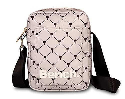 Bench City Girls Damen und Herren Mini Bag Umhängetasche Tasche Handtasche Schultertasche Crossbody-Tasche, grau/schwarz, 19 x 14 x 5 cm