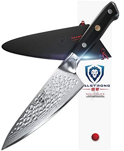Dalstrong - Shogun serie X Gyuto, AUS-10V, coltello piccolo da chef, in super acciaio giapponese trattato sottovuoto con 67 strati, finitura martellata, lungo 15,2 cm, venduto con guaina di protezione