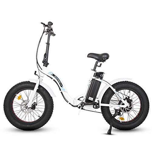 "ECOTRIC 20"" Fat Tire Folding Electric Bicycle Bike Powerful 500W 36V/12.5AH Lithium Battery Alloy Frame Ebike Rear Motor LED Display (White)"