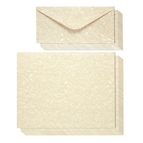 Vintage Antique Old Parchment Stationery Paper and Envelopes Set (8.5 x 11 In, 48 Pack)