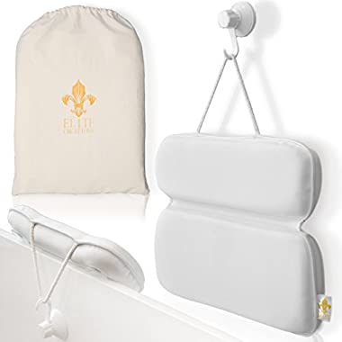 Elite Creations New Cutting Edge Bath Pillow - Ultra-Soft Neoprene Fabric, Strong Grip, Unique Design With 8 Suction Points, Extra-Large & Free Travel Bag. Discover New Heights Of Indulgence