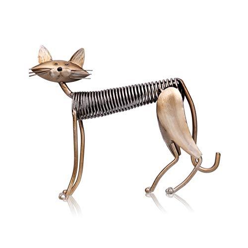 彫刻 金属彫刻鉄のアーランドの猫の金属の春にされた猫の手作りの手作りの家のリビングルームのオフィスの装飾飾り 彫像 (Color : Standing Cat)