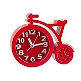 Reloj Despertador de Bicicleta Creativo niños Dibujos Animados creativos Bicicleta muda Regalo de Estudiante Reloj Despertador Moda decoración del hogar Reloj # 4J08-rojo