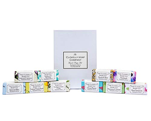 Clovelly Soap Co Set de Regalo de Mini Jabones Naturales Artesanales para Invitados Natural 10 Barras