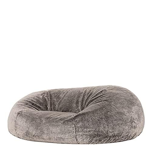 icon Cloud Bean Bag Sofa - Grey, 160cm x 140cm Giant Faux Fur Two-Seater BeanBag Chair, Love Seat Bean Bags