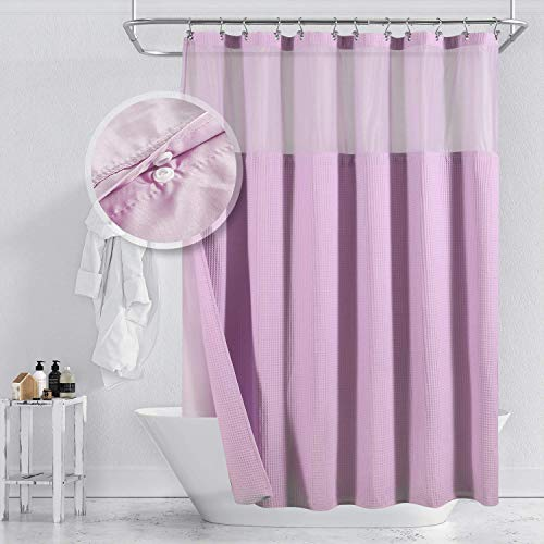 Cotton Blend Waffle Weave Shower Curtain with Snap-in Fabric Liner, Hotel Luxury Spa, Mesh Top Window, Machine Washable, Lavender Purple,72x72 Inch