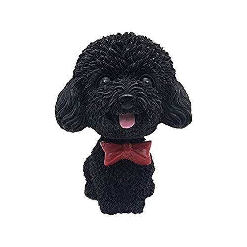 FBYED Car Nodding Dog Doll Cute Simulation Ornaments Shaking Bobble Head Teddy Puppy Car Interior Dashboard Decoration Home Desk Resin Toy Creative Gifts, 8.5 * 6.5 * 5 cm, Black