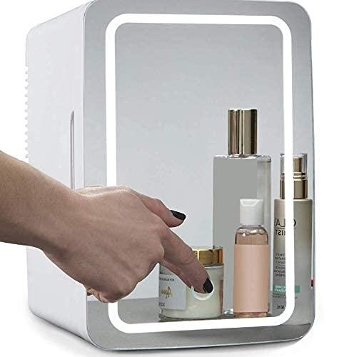 QMYYHZX Mini Nevera Mini Refrigerador De Maquillaje, Refrigerador Calentador Portátil AC/DC De 6 litros, Luz LED con Espejo, para Maquillaje Y Cuidado De La Piel
