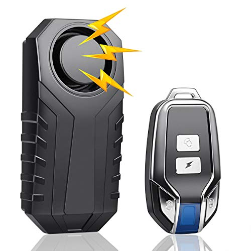 (2021 Version) Bike Security Alarm, Bicycle Security Buzzer, Bike Theft Prevention, Goods, 3 Level Volume Adjustment, 7 Vibration Sensitivity, Car Security Alarm, Remote Control, Vibration Alarm, IP55 Waterproof, Intrusion Prevention, 113 dB Loud Volume, Bicycle/Car/Home/Window, Security Protection, No Wiring Required, Japanese Instruction Manual Included (English Language Not Guaranteed)