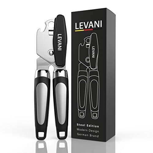 Levani Dosenöffner - Steel Edition - Universal Büchsenöffner aus Hochwertigem und Rostfreiem Edelstahl - 2 in 1 Dosenöffner Senioren mit Flaschenöffner-Funktion - Modern Can Opener