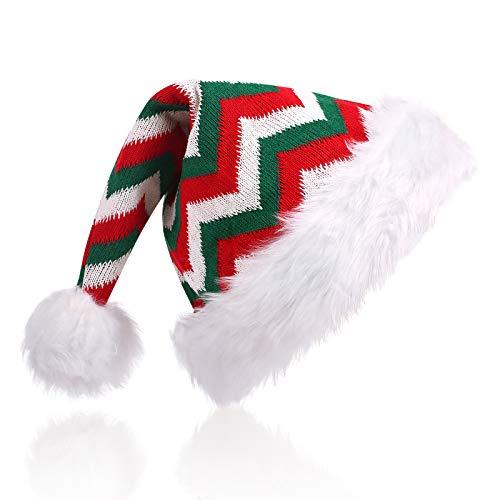 CITÉTOILE Adult Weihnachtsmütze Nikolausmütze, Gestrickte Weihnachtsmützen Warme Weiche, Dicke Plüschkrempe Weihnachtsmütze für Männer und Frauen, Kostüm Weihnachtskostüm Party Dekoration, Rot-02