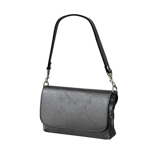SH Leder Echtleder Umhängetasche Clutch kleine Tasche Abendtasche Metallic Leder 19x11cm Elena G349 (Anthrazit Metallic)