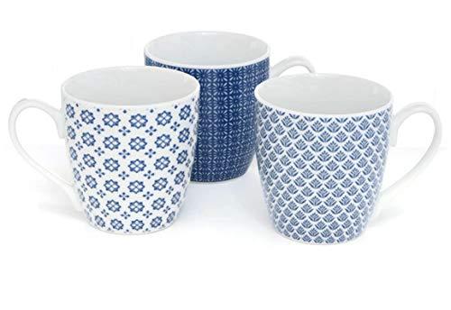 MAIKAI 3er Set Jumbobecher Landhaus Weiß Blau Jumbo Tassen 480 ml Kaffeebecher Verspieltes Design Jumbobecher Kaffeetasse Modern Becher Groß Geschenk Für kleine und Große Mädels