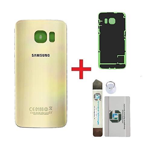 iTG® Original Akkudeckel Reparatur-Set für Samsung Galaxy S6 Edge Gold (Gold Platinum) – Original Samsung Rückseite Batterieabdeckung für SM-G925F + Vormontierte 3M Klebefolie + Werkzeug-Set