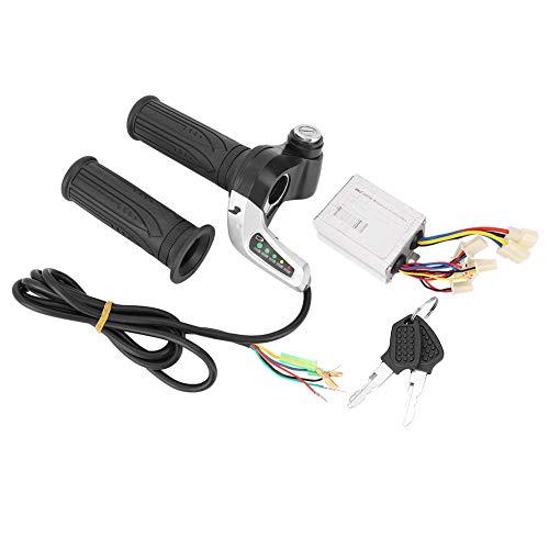 Controlador de motor cepillado, DC 48V 500W LED Bicicleta eléctrica Motor Scooter Kit de controlador de velocidad cepillado con bloqueo del manillar Empuñadura del acelerador