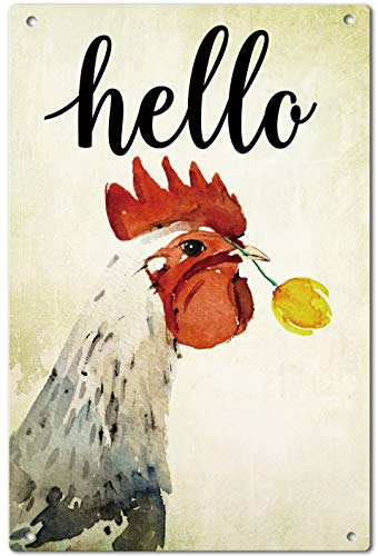 Agantree Art Hello Farm House Chicken Fowl Garden Yard Metal Sign Outdoor Decorative Metal Plaque 12 x 8 Inch