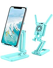 CASSORY 3 in 1 Folding Desk Cell Phone Stand Holder Tablet Stand with Selfie Light&Phone Cooler Cooling Fan, Angle and Height Adjustable Tablet Holder Stand, for iPhone/Samsung/iPad/Kindle