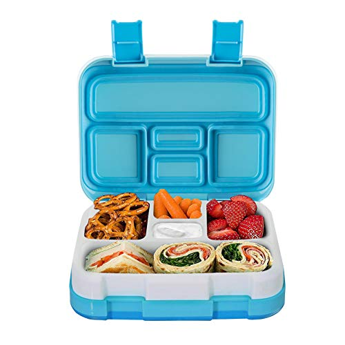 Lunch Box for Kids Childrens, Bento lunch Box for Boys Girls, Toddler School Lunch Containers 5-Compartment On-the-Go Meal Fruit Snack Packing for Picnic Outdoors, Leak Proof Durable & Microwave Safe