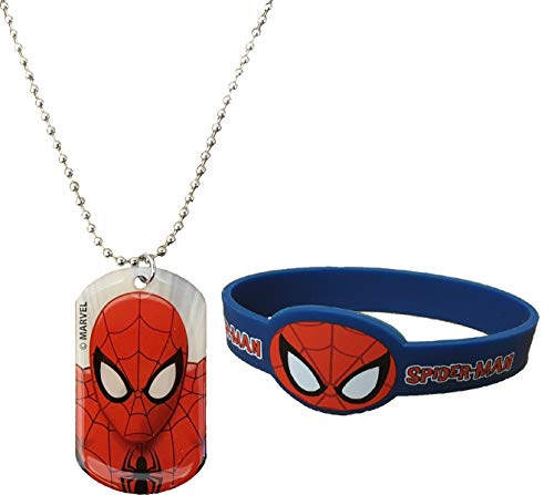 Kids Marvel Spiderman Stainless Steel Dog Tag Chain Pendant Necklace 16' and Silicone Rubber Wristband Set