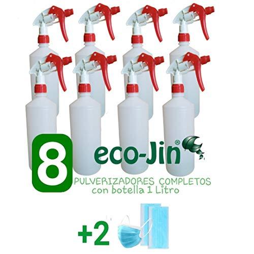 ECO-JIN PULVERIZADOR Completo con Botella 1 LITRO (Super Resistentes Y DURACIÓN MÁXIMA - 8 Unidades)