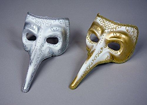Venezianische Maske weiß Silber Lange Nase