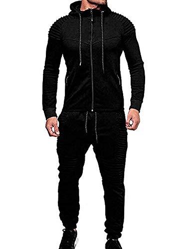 Winter Men's Solid Color Tracksuit Set Sweatshirt Jogger Sweatpants Casual Warm Sports Suit (Black, M)