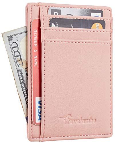 Travelambo Front Pocket Minimalist Leather Slim Wallet RFID Blocking Medium Size(VP Pink)