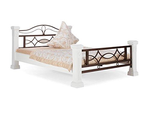 massivum Bett Byzanz 140x200cm Rubberwood weiß gebeizt und lackiert