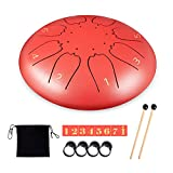 Steel Tongue Drum 8 Notes 6 Inches Drum Set Meditation Entertainment Musical Handpan Drum Percussion Instrument with Travel Bag, Music Book, Mallets Healing Drum Gifts for Kids Adult (Red)