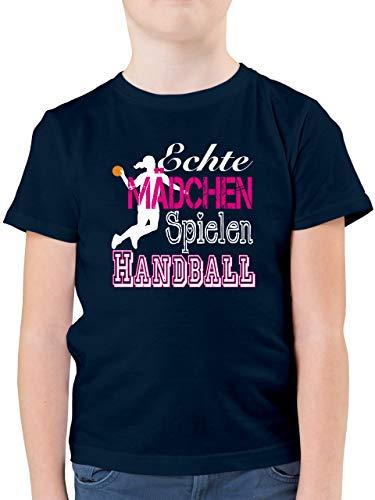 Sport Kind - Echte Mädchen Spielen Handball weiß - 164 (14/15 Jahre) - Dunkelblau - Handball t Shirt Kind - F130K - Kinder Tshirts und T-Shirt für Jungen