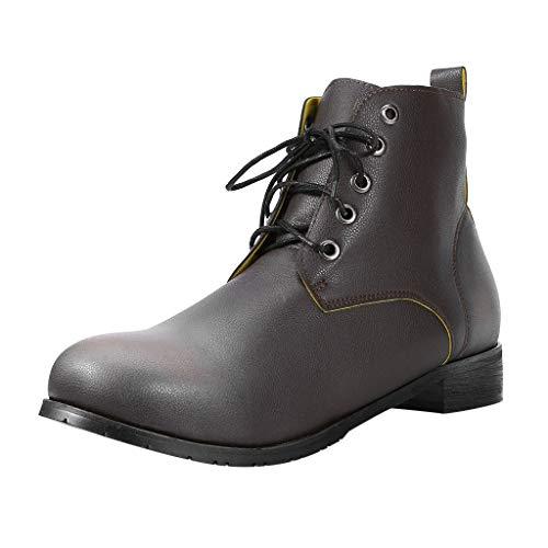 LILIGOD Paar Vintage Lederstiefel Herren Damen Britische Schnürstiefel Beiläufige Kurze Stiefel...