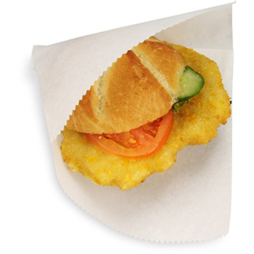 pack2go 1000 Snacktaschen/Dönertaschen, to Go-Snackbeutel, Sandwich Tasche, 2-seitig offen, groß, Perga-Ersatz fettdicht, 16x15cm, weiß, unbedruckt